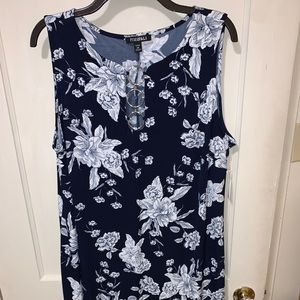 Roz and Ali navy floral jersey swing dress Size 2X